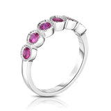 14K White Gold 6-Stone Bezel Set Ruby (3MM, Round Cut) Ring