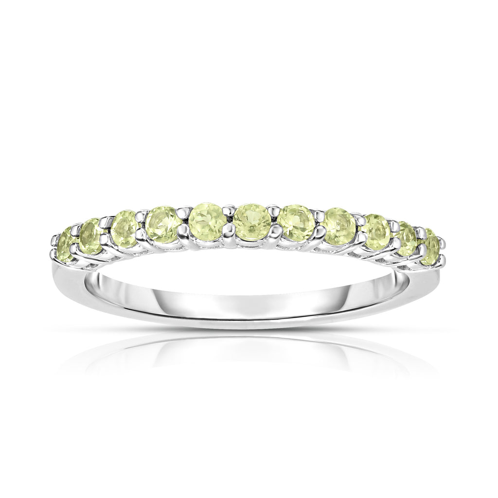 14K White Gold Gemstone (0.33 Ct) 11-Stone Stackable Ring