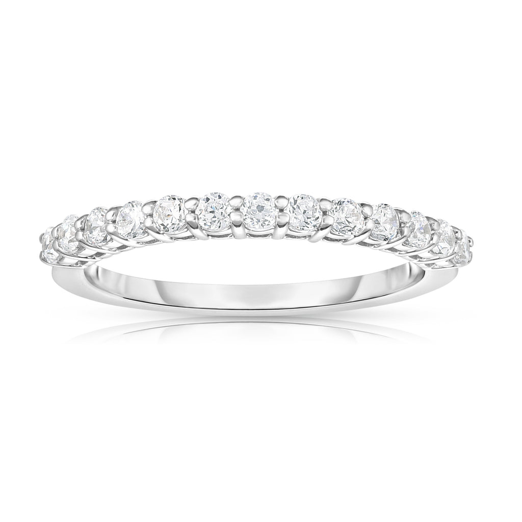 14K White Gold Diamond (0.33 Ct, I1-I2 Clarity, G-H Color) 13-Stone Wedding Band