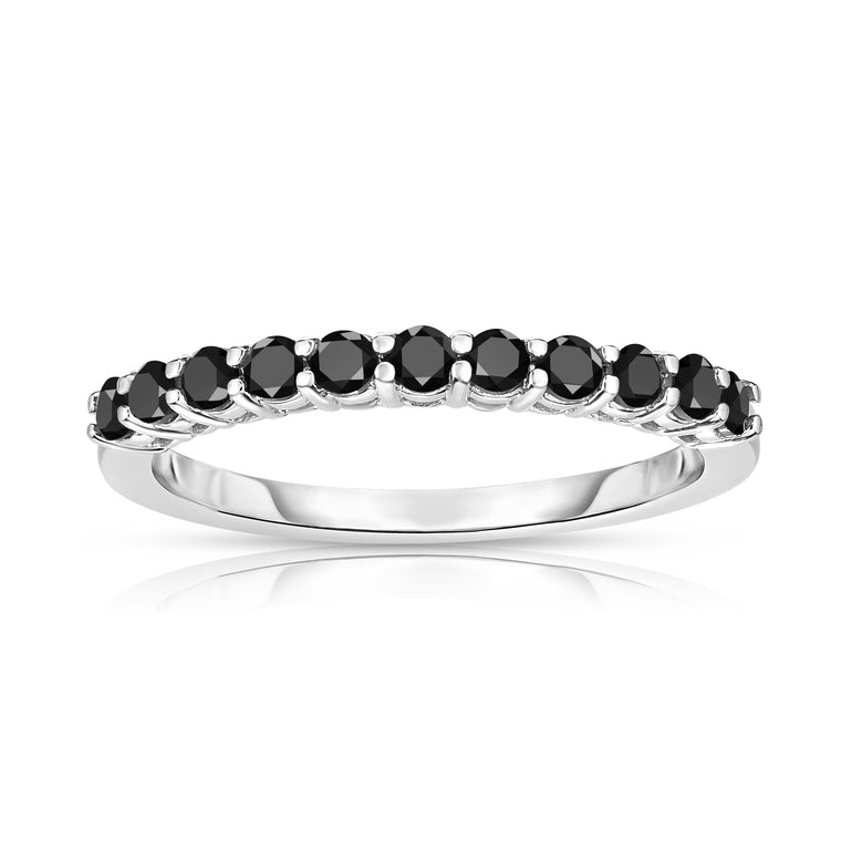 14K White Gold Black Diamond 11-Stone Wedding Band (0.35 cttw)