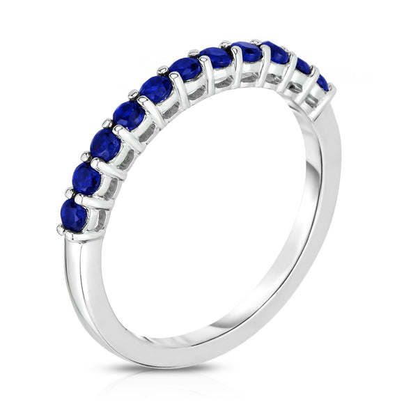 14K White Gold Blue Sapphire (0.33 Ct) 11-Stone Stackable Ring