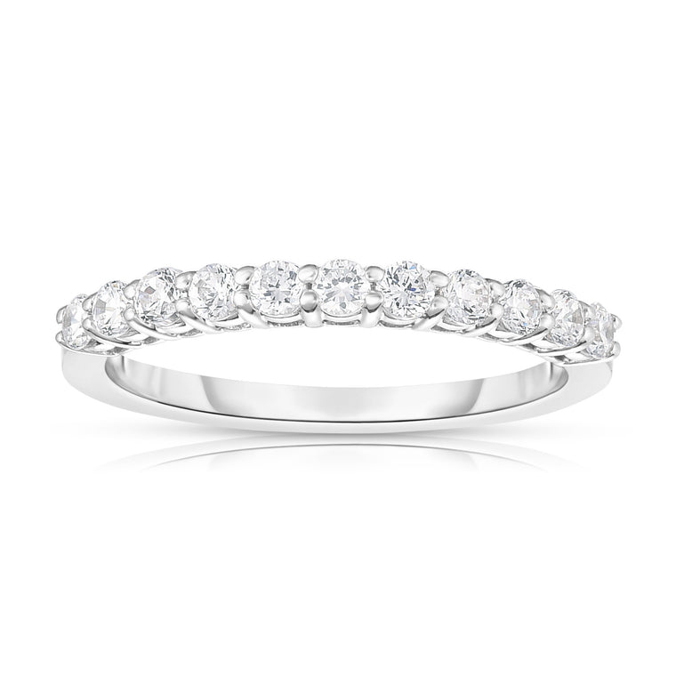 14K White Gold Diamond (0.40 Ct, I1-I2 Clarity, G-H Color) 11-Stone Wedding Band