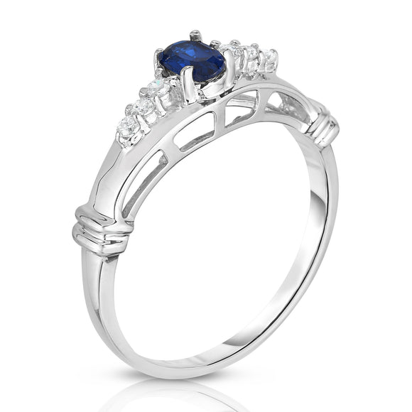 14K White Gold Oval Blue Sapphire & Diamond (0.10 Ct, G-H Color, I1-I2 Clarity) Ring