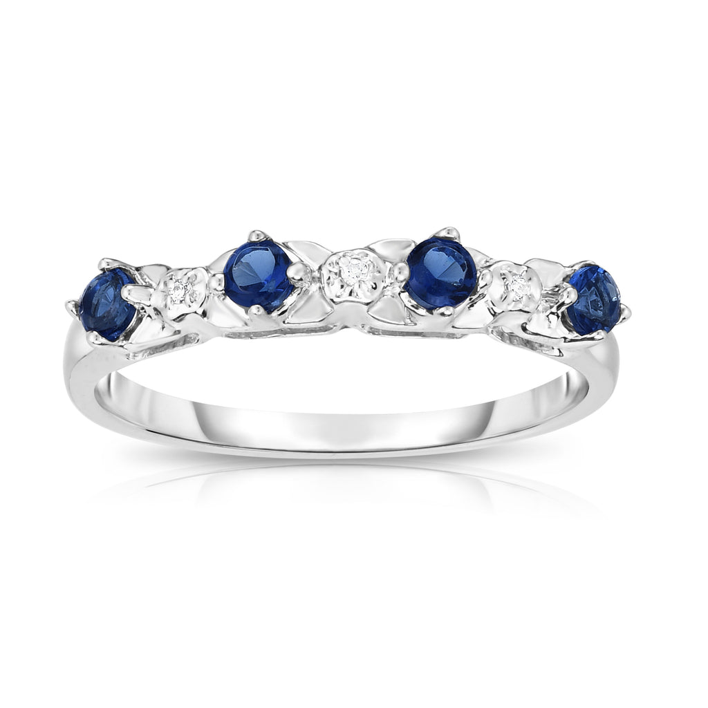14K White Gold Blue Sapphire & Diamond (0.015 Ct, G-H Color, SI2-I1 Clarity) Ring