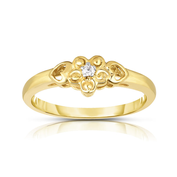 14K Gold Diamond (0.03 Ct, I1-I2 Clarity, G-H Color) Flower and Heart Design Ring