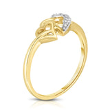 14K Gold Diamond (0.02 Ct, I1-I2 Clarity, G-H Color) Double Heart Ring