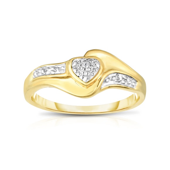 14K Gold Diamond (0.01 Ct, I1-I2 Clarity, G-H Color) Heart Ring