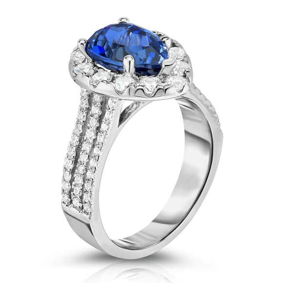 14K White Gold Tanzanite & Diamond (1.50 Ct, G-H Color, SI2-I1 Clarity) Engagement Ring