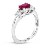 14K White Gold Oval Ruby & Diamond (1/4 Ct, G-H Color, SI2-I1 Clarity) Ring