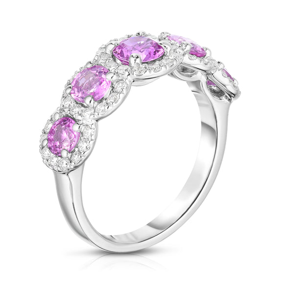 14K White Gold Pink Sapphire & Diamond (0.50 Ct, G-H Color, SI2-I1 Clarity) Ring