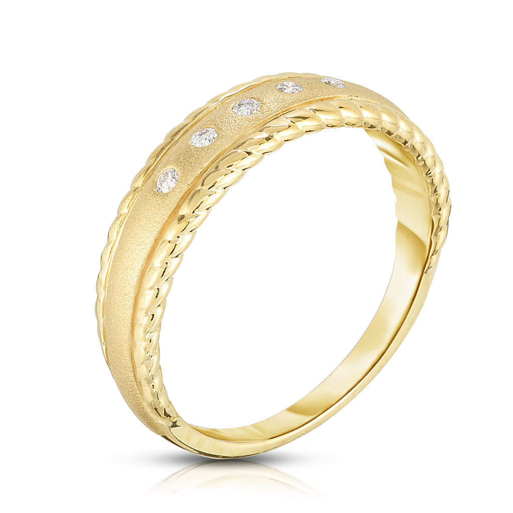 14K Gold Diamond (0.06 Ct, G-H Color, SI2-I1 Clarity) Stackable Ring