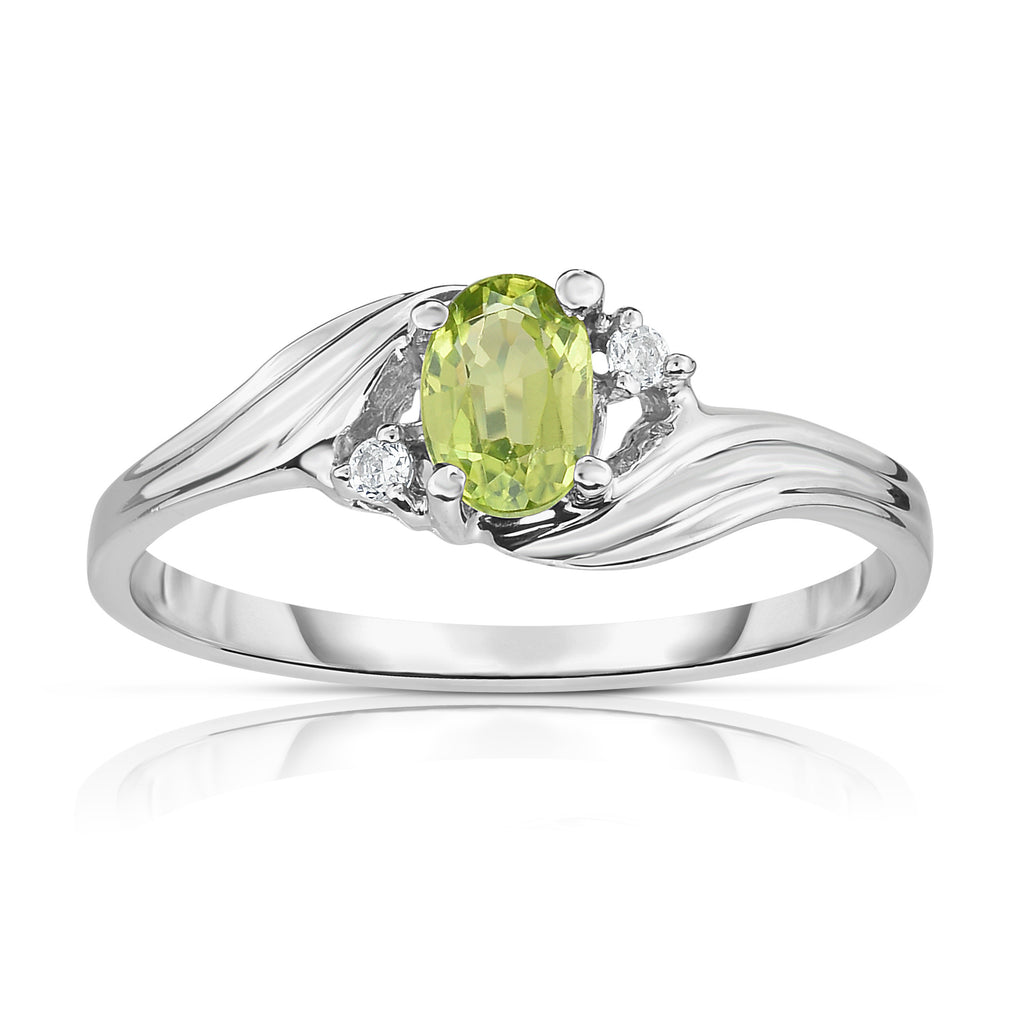 14K Gold Oval Shape Gemstone & Diamond  (0.03 Ct, G-H Color, SI2-I1 Clarity) Ring