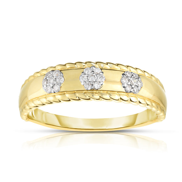 14K Gold Diamond (0.10 Ct, G-H Color, SI2-I1 Clarity) Flower Stackable Ring