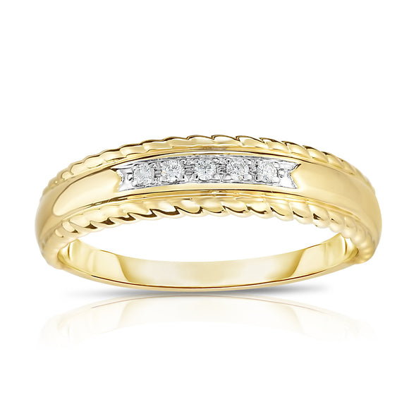 14K Gold Diamond (0.05 Ct, G-H Color, SI2-I1 Clarity) 5-Stone Stackable Ring