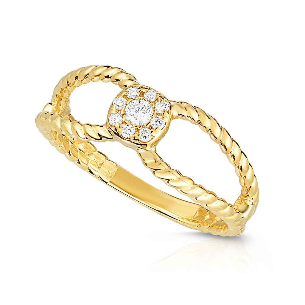 14K Gold Diamond (0.11 Ct, G-H Color, SI2-I1 Clarity) Twisted Stackable Cluster Ring