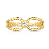 14K Gold Bezel Set Diamond (0.10 Ct, G-H Color, SI2-I1 Clarity) Twisted Stackable Ring