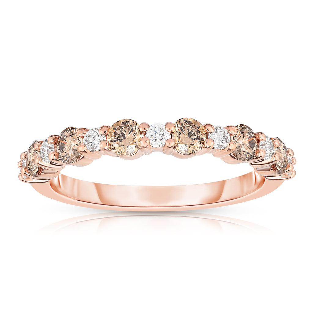 14K Rose Gold Champagne & White Diamond (0.80 Ct, G-H/Brown Color, SI2-I1 Clarity) Ring