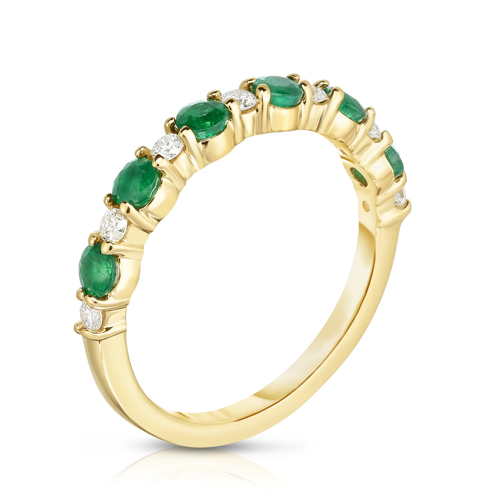 14K Yellow Gold Emerald & White Diamond (0.15 Ct, G-H Color, SI2-I1 Clarity) Ring