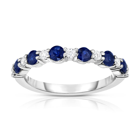 14K White Gold Blue Sapphire & Diamond (0.17 Ct, G-H Color, SI2-I1 Clarity) Ring