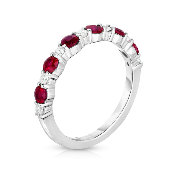 14K White Gold Ruby & Diamond (0.17 Ct, G-H Color, SI2-I1 Clarity) Ring