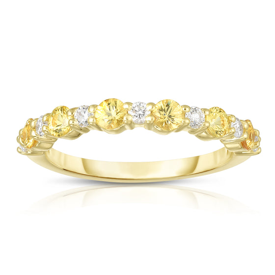 14K Yellow Gold Yellow Sapphire & Diamond (0.17 Ct, G-H Color, SI2-I1 Clarity) Ring