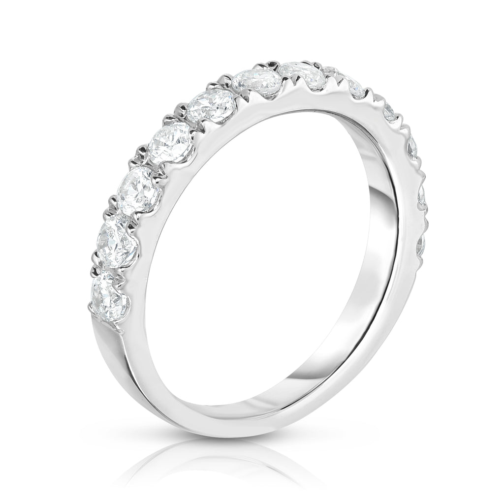 14K White Gold Diamond (1.10 Ct, SI2-I1 Clarity, G-H Color) Wedding Band
