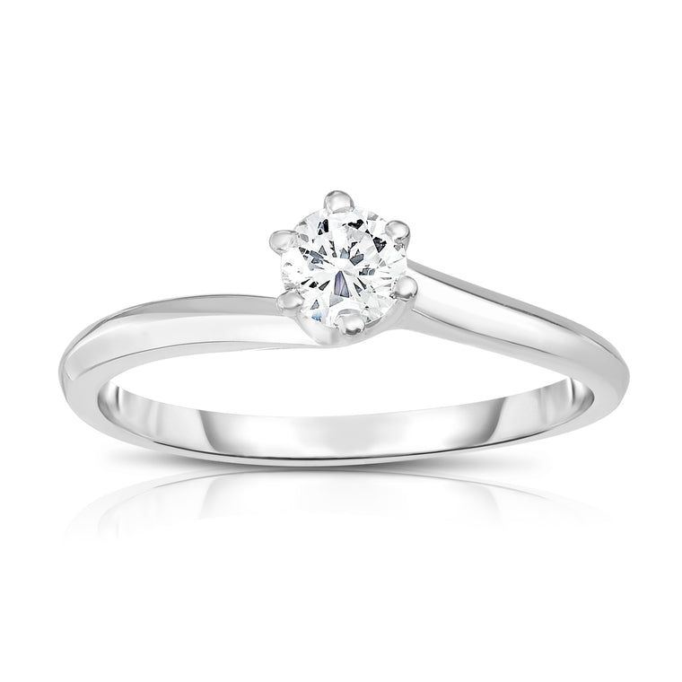 14K White Or Yellow Gold Diamond (0.25 Ct, SI2-I1 Clarity, G-H Color) 6-Prong Solitaire Ring