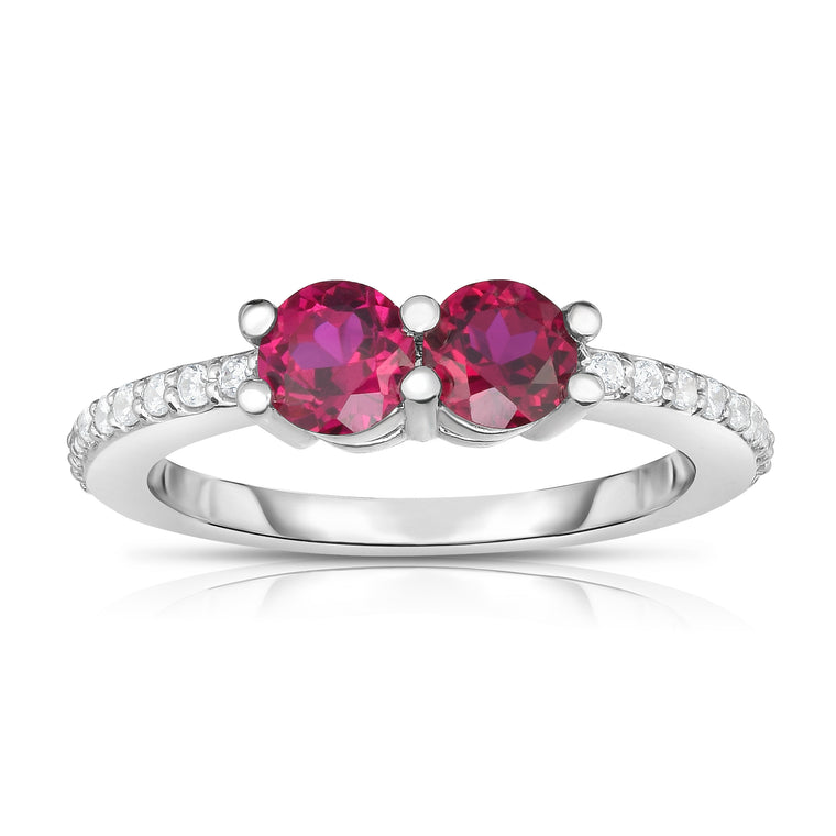 14k White Gold Gemstone and Diamond (0.12 Ct, G-H Color, SI2-I1 Clarity) Ever Us Ring