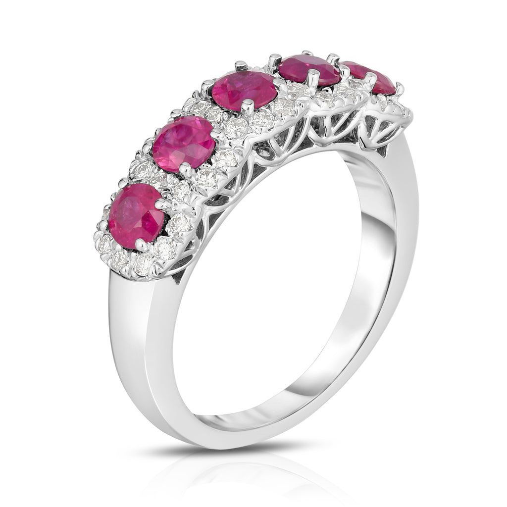 14K White Gold Ruby & Diamond (0.35 Ct, G-H Color, SI2-I1 Clarity) Wedding Ring