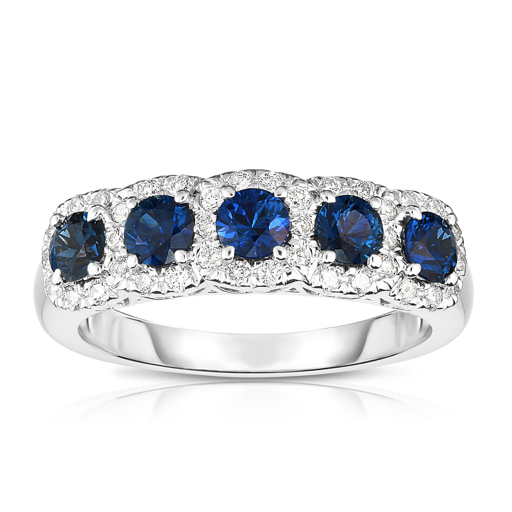 14K White Gold Blue Sapphire & Diamond (0.35 Ct, G-H Color, SI2-I1 Clarity) Wedding Ring