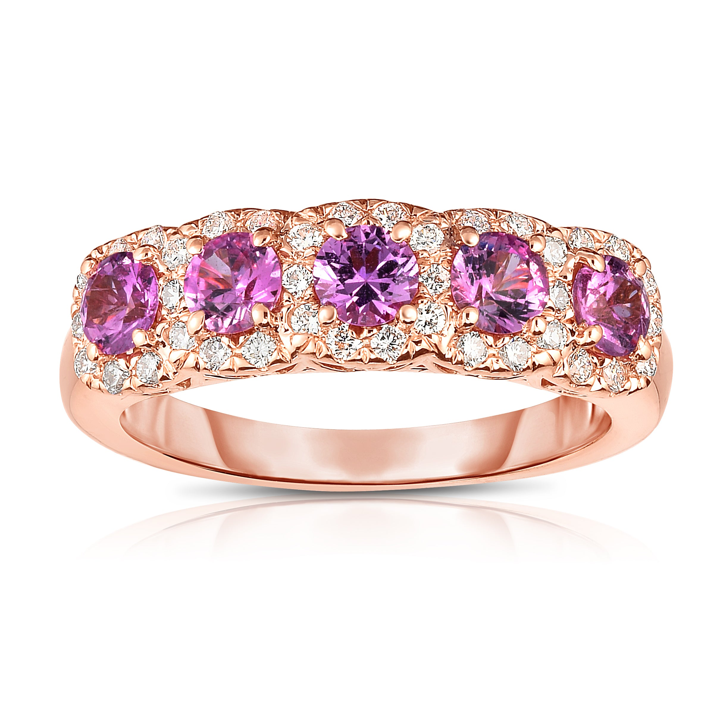 diamond sapphire white pink gold ring and