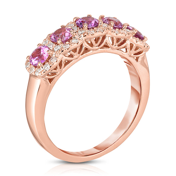 14K Rose Gold Pink Sapphire & Diamond (0.35 Ct, G-H Color, SI2-I1 Clarity) Wedding Ring