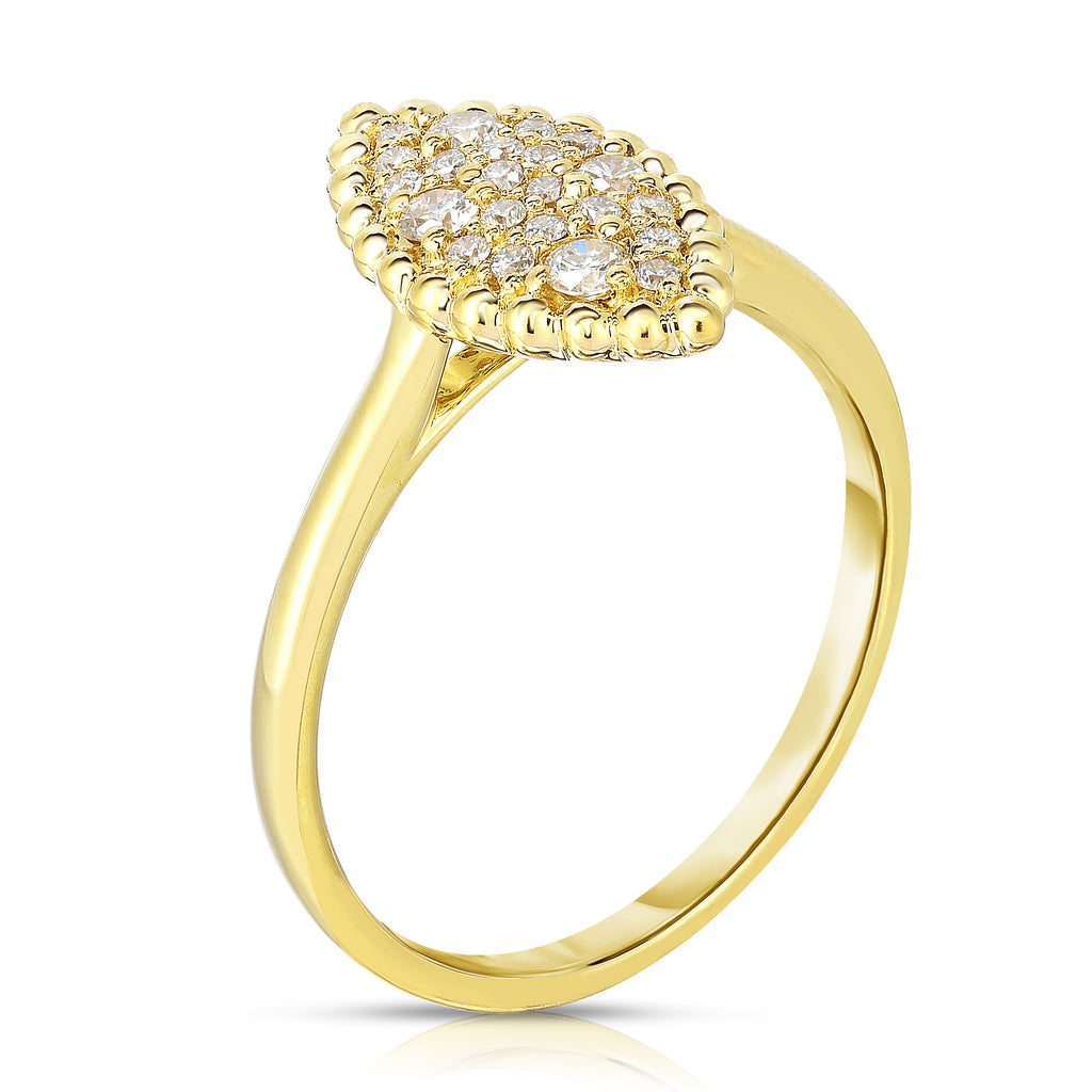 14K Gold Diamond (0.25 Ct, G-H Color, SI2-I1 Clarity) Marquise Shape Ring