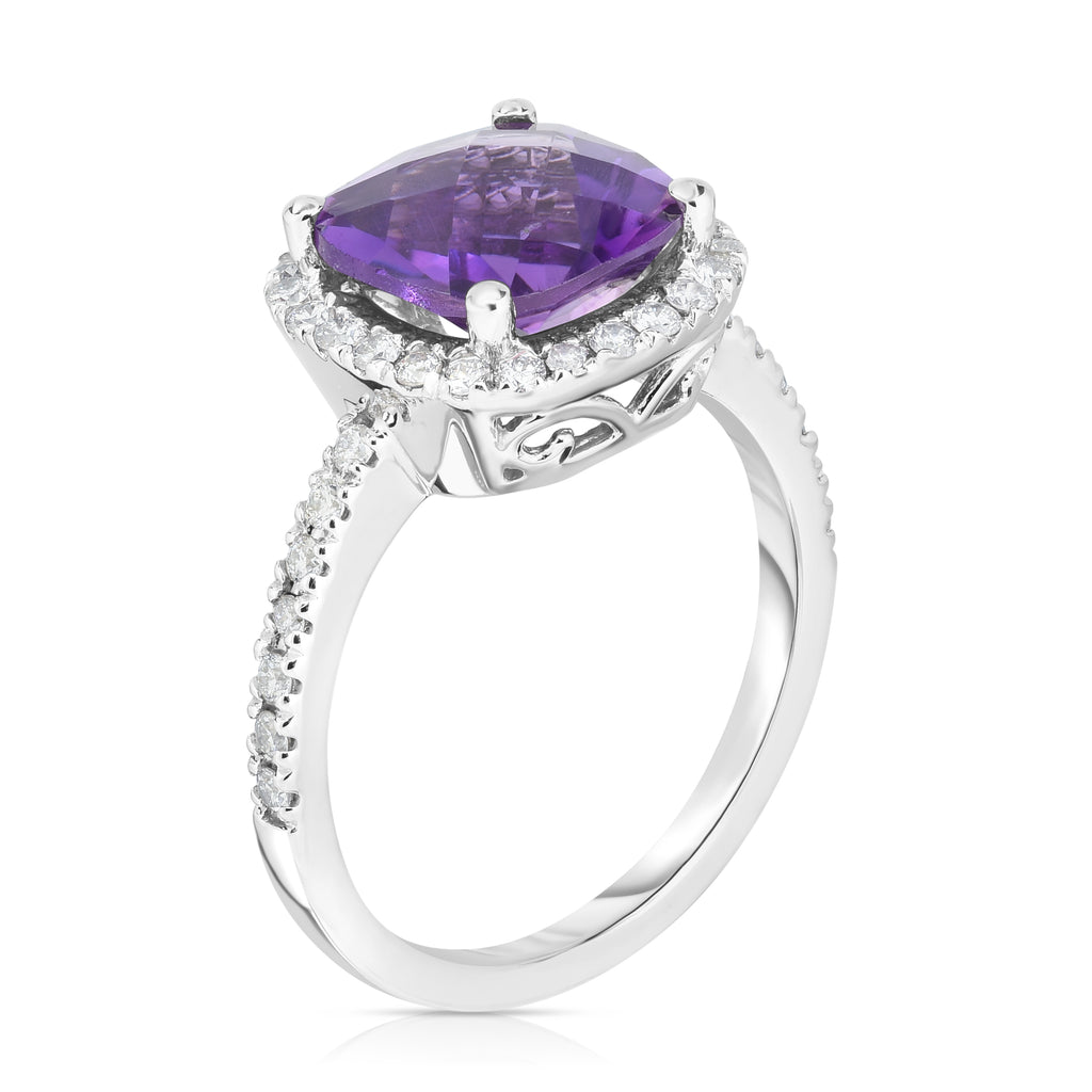14K White Gold Cushion Gemstone & Diamond (0.35 Ct, G-H Color, SI2-I1 Clarity) Ring