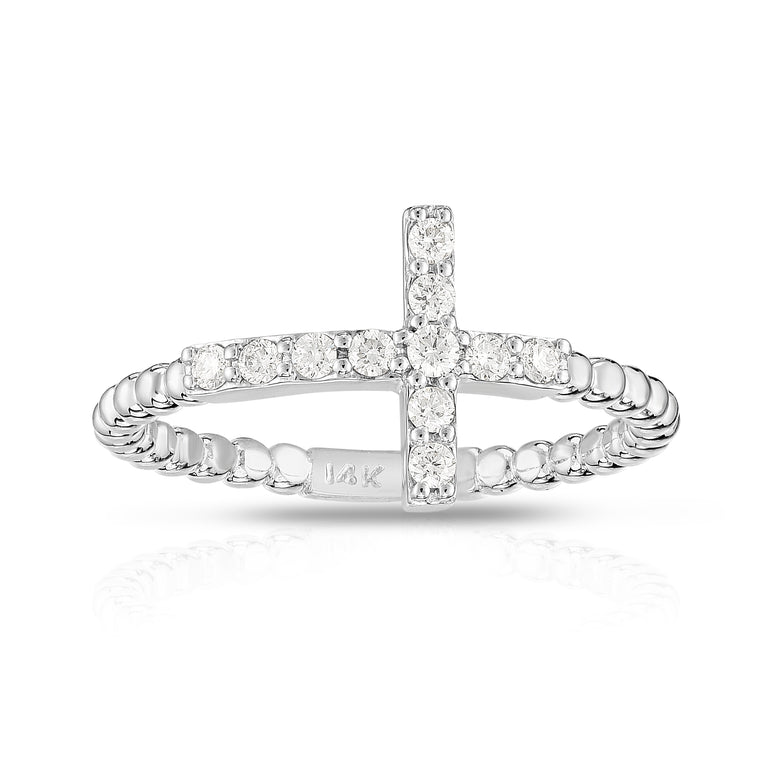 14K Gold Diamond (0.15 Ct, G-H Color, SI2-I1 Clarity) Beaded Cross Ring