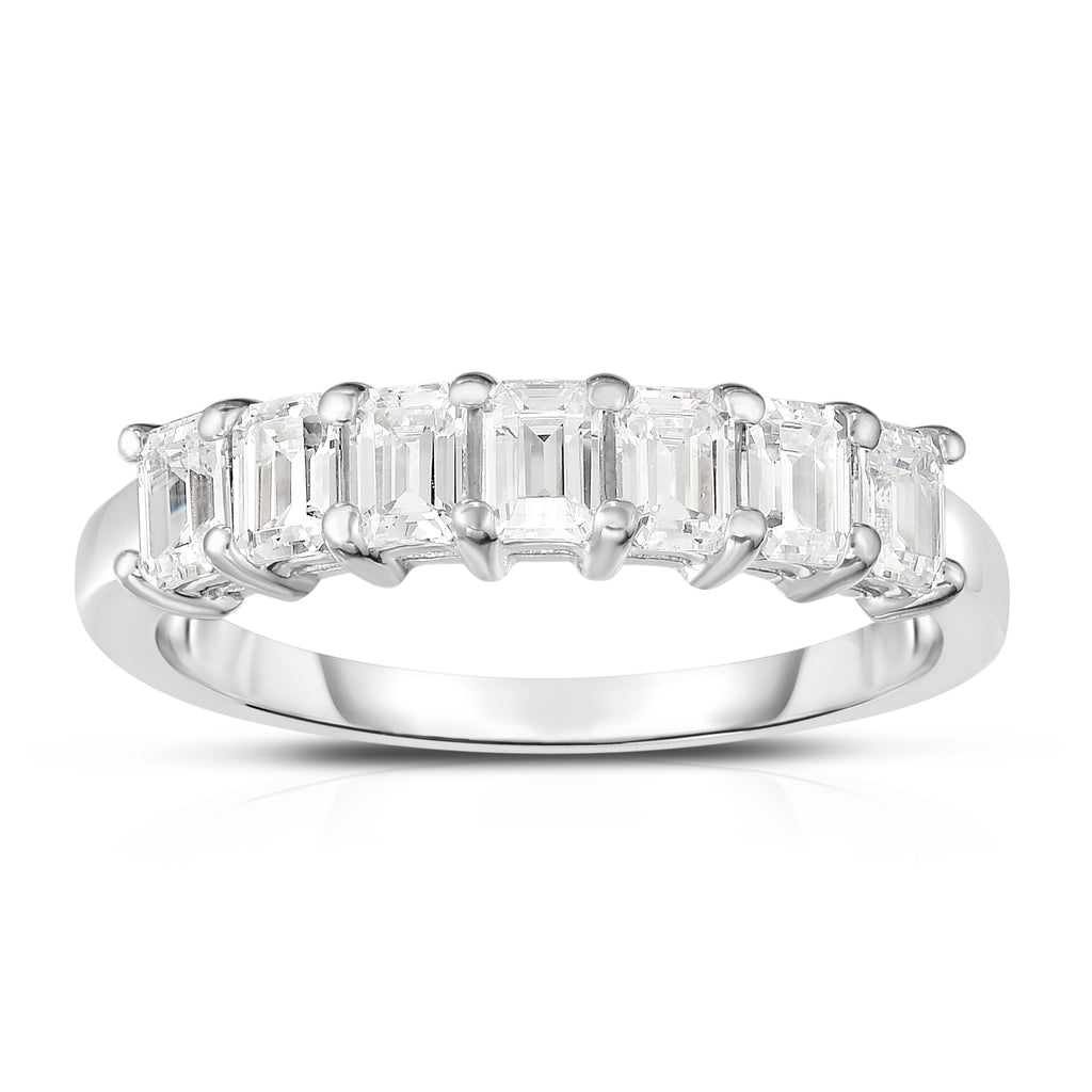 14K White Gold 7-Stone Emerald Cut Diamond (1.00 Ct, G Color, VS Clarity) Ring