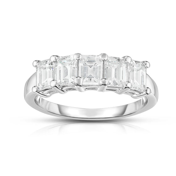 14K White Gold 5-Stone Emerald Cut Diamond (1.60 Ct, G Color, VS Clarity) Ring