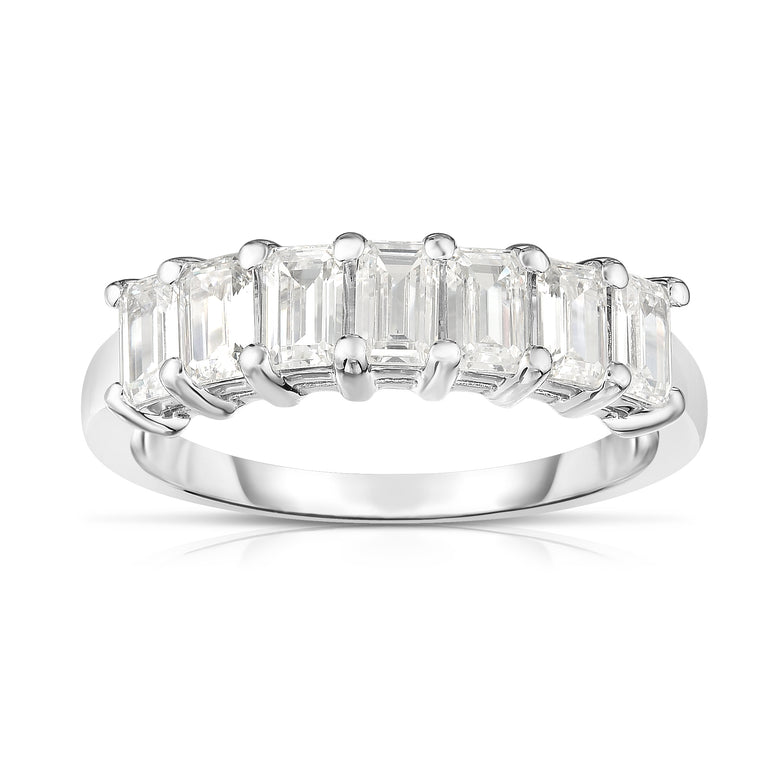 14K White Gold 7-Stone Emerald Cut Diamond (1.40 Ct, G Color, VS Clarity) Ring