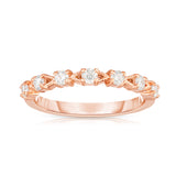 14K Gold Diamond (1/3 Ct, G-H Color, SI2-I1 Clarity) Stackable Milligrain Ring