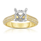 14K Gold Diamond (0.48 Ct, G-H Color, SI2-I1 Clarity) Semi-Mount Ring