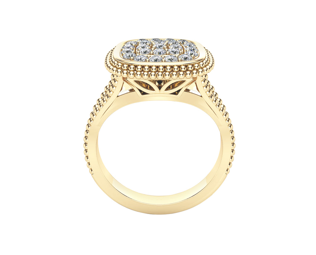 14K Gold Diamond (0.50 Ct, G-H Color, SI2-I1 Clarity) Beaded Square Ring