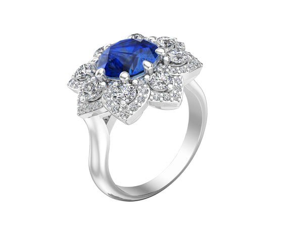 14K White Gold Blue Sapphire & Diamond (0.90 Ct, G-H Color, SI2-I1 Clarity) Engagement Ring