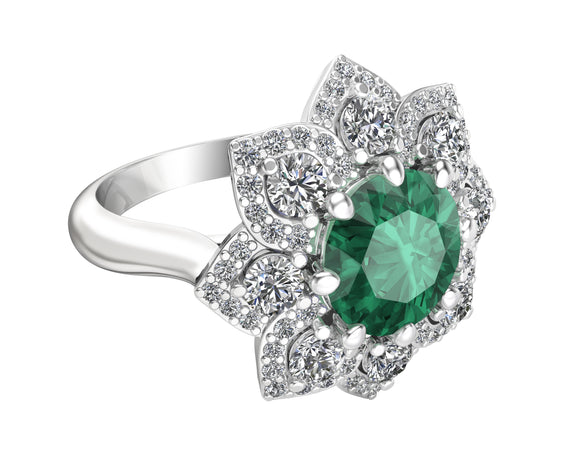 14K White Gold Emerald & Diamond (0.90 Ct, G-H Color, SI2-I1 Clarity) Engagement Ring