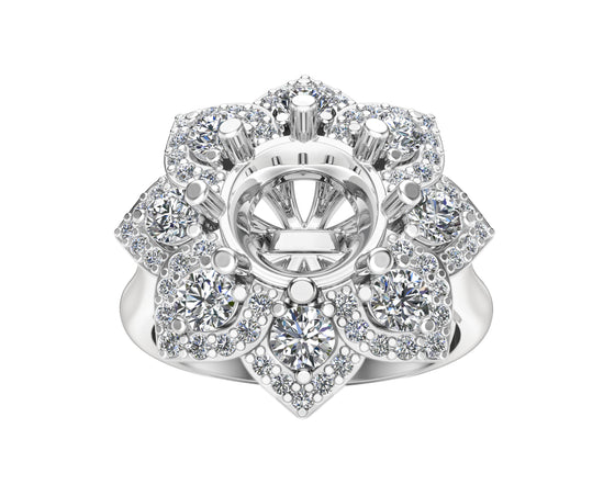 14K White Gold Diamond (0.90 Ct, G-H Color, SI2-I1 Clarity) Semi-Mount Ring