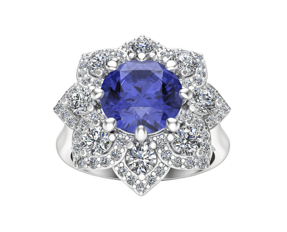 14K White Gold Tanzanite & Diamond (0.90 Ct, G-H Color, SI2-I1 Clarity) Engagement Ring