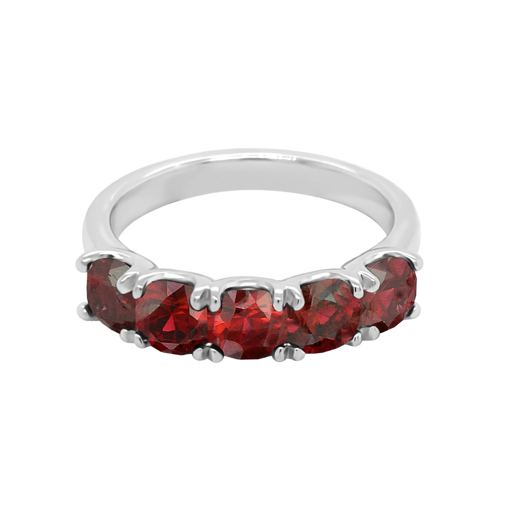 14K Gold Cushion 4x4MM Garnet Ring