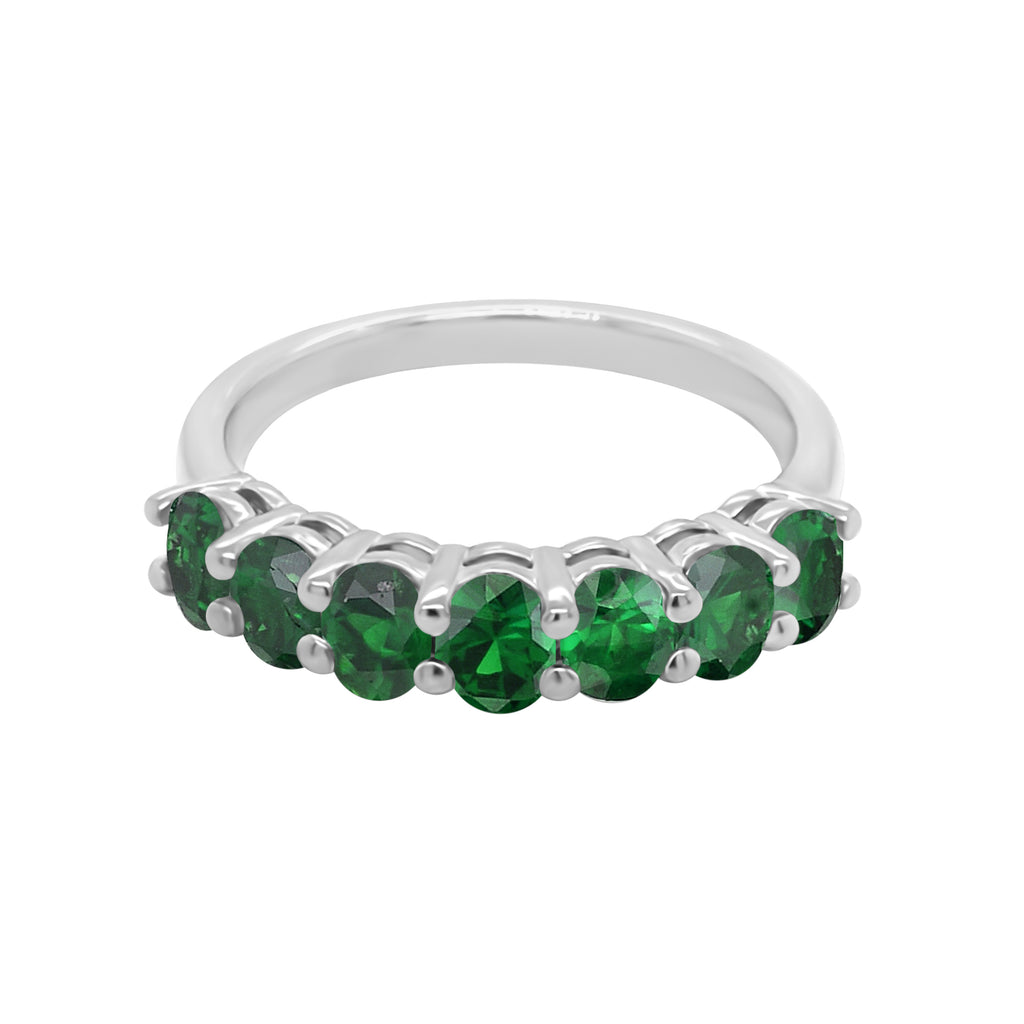 14K White Gold Oval 4x3MM Green Sapphire Ring