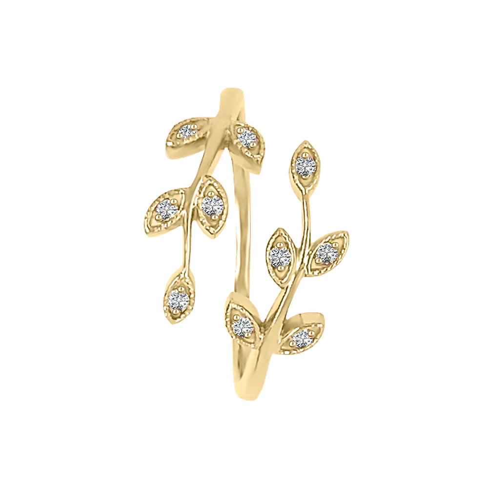 14K Gold Diamond (0.10 Ct, G-H Color, SI2-I1 Clarity) Bypass Leaf Ring