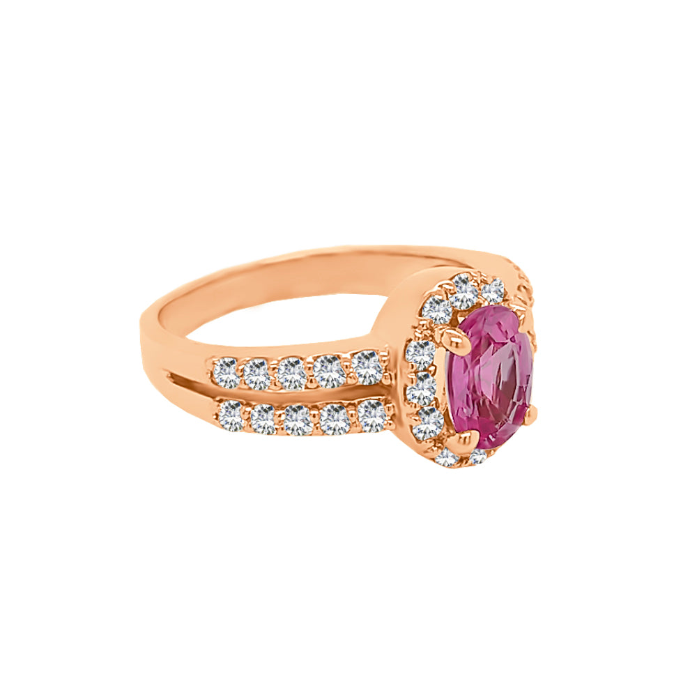 14K Gold Pink Sapphire & Diamond (0.60 Ct, G-H Color, SI2-I1 Clarity) Engagement Ring