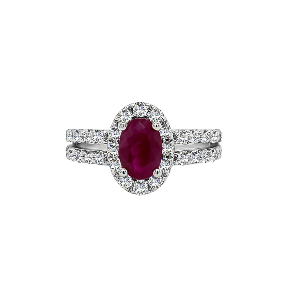 14K White Gold Ruby & Diamond (0.60 Ct, G-H Color, SI2-I1 Clarity) Engagement Ring